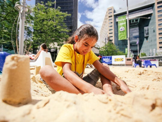 """The sand-filled area  known as """"the beach"""" at Campus Martius will be popular  this weekend during Detroit Summerfest."""