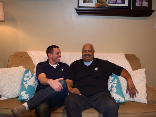 Wilmington Lt. Dan Selekman (left) and Coy Williams share a laugh earlier this month.