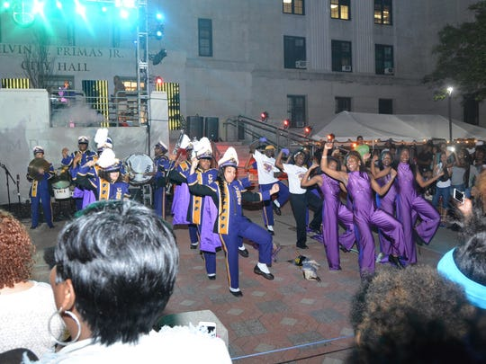Camden High School's famous marching band performs at Camden Night Gardens.