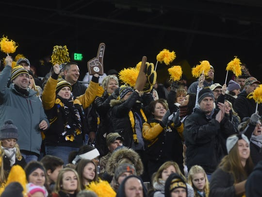 Tri-Valley fans cheer on the Scotties during the Division III championship game on Saturday. Tri-Valley lost 27-19.