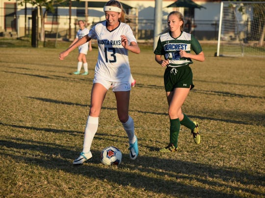 Marco Island Academy senior Olivia Watt controls the ball in a game this season against  Seacrest Country Day. Watt is one of five Manta Ray seniors.