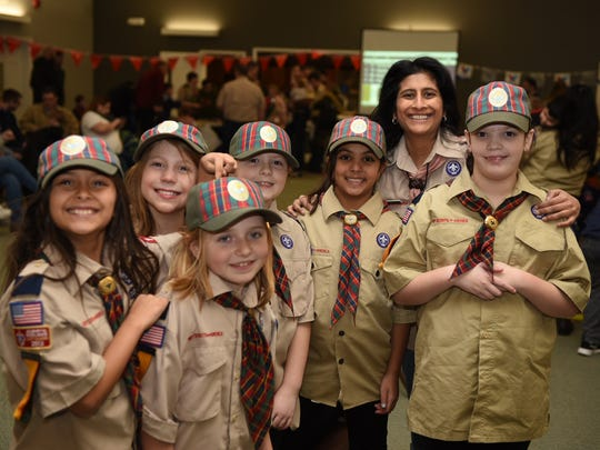 Cub Scout Pack 165 in Rockaway welcomed the first group of female Cub Scouts in the area, and they all participated in the recent Pinewood Derby. The girls are all fourth-graders and they are the first females registered as scouts in the entire Patriots' Path Council, which includes Morris, Sussex, Somerset, Union and Middlesex counties. From left, Anika Zoeller, Cameron Wagner, Madison Sipple (slightly in front), Regan Johnson, Soniya Shah and Den Leader Brenna Johnson.