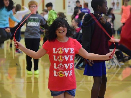Evyn Mesa, 10, said she loves jump roping at the Jump