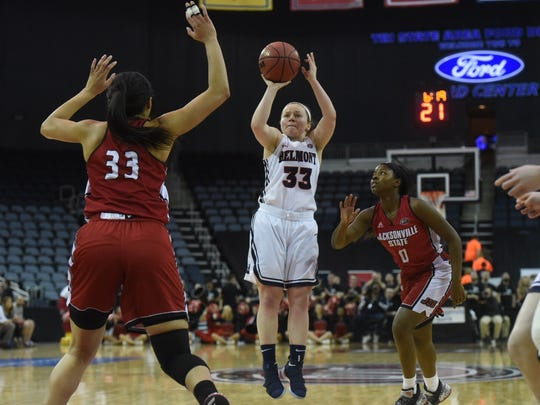 Darby Maggard led Belmont with 20 points in Friday OVC Tournament semifinal win over Jacksonville State at Ford Center in Evansville, Ind.