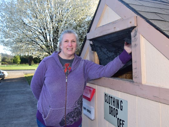 Marjorie Acosta invites the community to drop off gently used clothes to the drop box outside the church anytime.