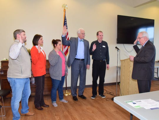 NWKBPA 2018 officers are sworn in. Pictured from left