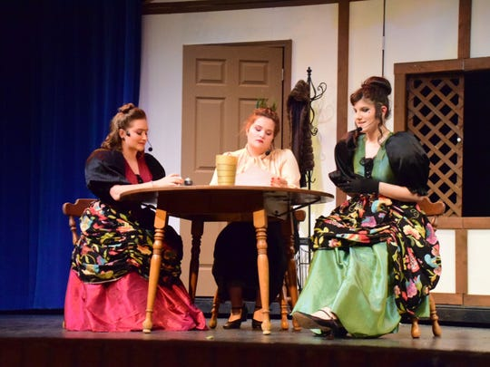 Cinderella's stepmother and stepsisters played by Cobi Genna as Joy (left), Tedra Knowlton as the stepmother and Jessica Veach as Portia.