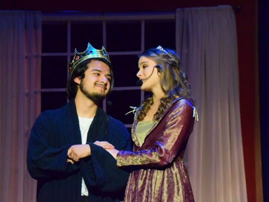 The King (Carlos Ortiz) and Queen (Leah McGinnis) discuss having a ball so their son the Prince can find a bride.