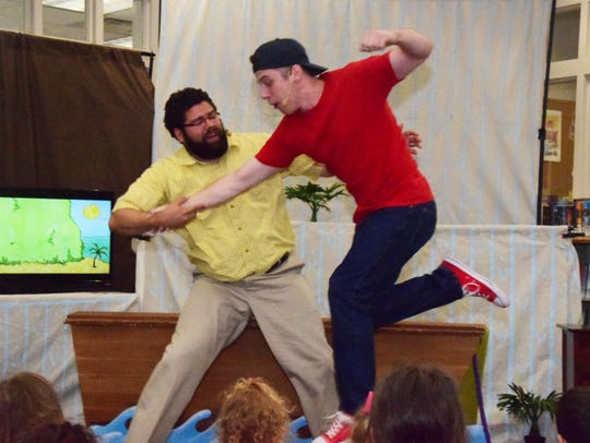 Adam Meredith as Dad and Michael Cleary as Jim with
