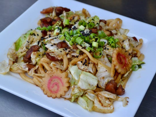Fried udon noodles, once on the menu of Kenji's food truck, are returning to the menu when the truck becomes Kenji's restaurant in fall 2018.