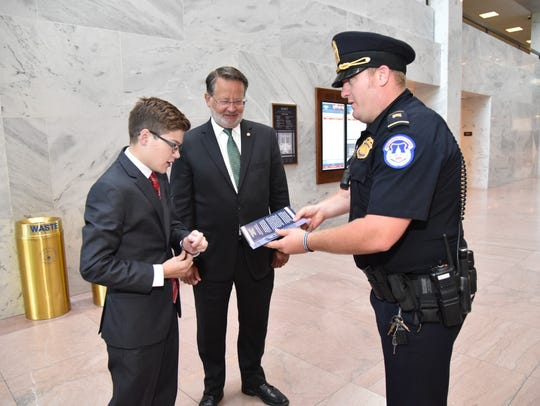 Thomas Stephenson is greeted in the Senate Hart Office