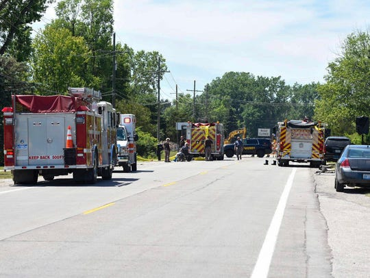Rescue crews block Lapeer Road while responding to