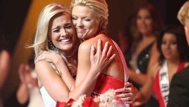 Miss Willamson County, Allee-Sutton Hethcoat, left, was named Miss Tennessee USA 2017 at the Miss Tennessee USA 2017 pageant held at Austin Peay State University on Saturday, Oct. 8, 2016.