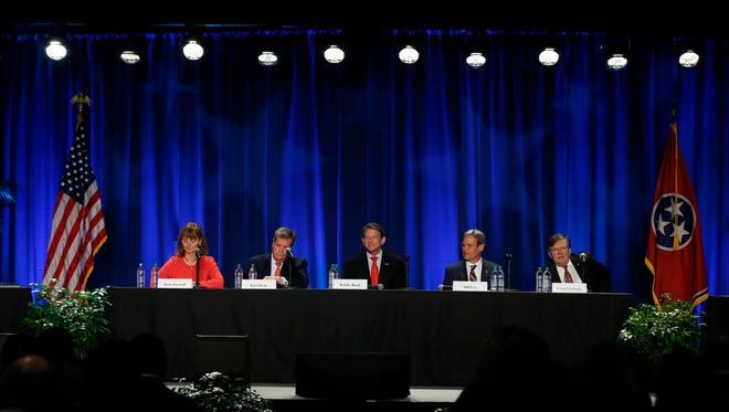 Tennessee gubernatorial candidates (L to R) House Speaker Beth Harwell (R), Karl Dean (D), Randy Boyd (R), Bill Lee (R) and Rep. Craig Fitzhugh (D) participate in the Gubernatorial Candidates' Forum on health care Tuesday, Feb. 27, 2018, at Trevecca Nazerene University.