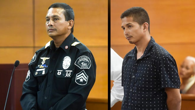 Airport Police Officer Vincent Castro, left, and Joshua John Untalan Mesa are shown in this combined image.