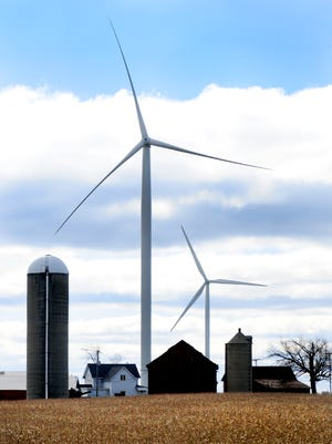 Wind turbines in the town of Glenmore in southern Brown County.