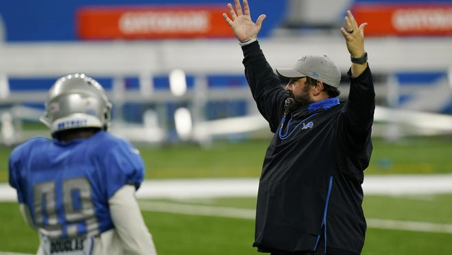 Detroit Lions head coach Matt Patricia calls for his team during drills at the Lions NFL football practice, Wednesday, Sept. 2, 2020, in Detroit.