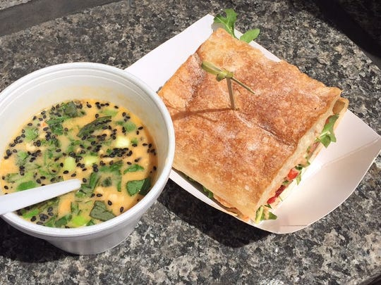Coconut chicken soup and eggplant sandwich from 'wich on Sycamore at Taste of Cincinnati 2015.