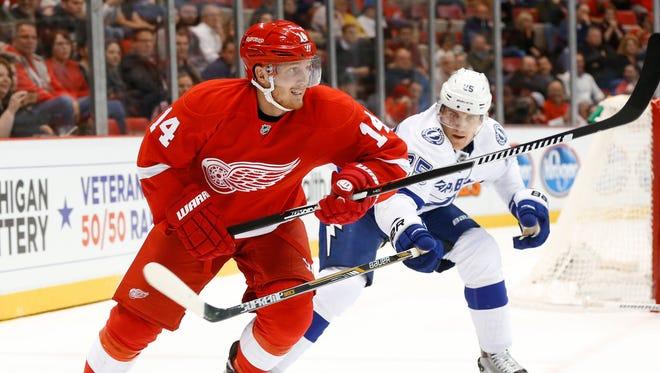 Detroit Red Wings center Gustav Nyquist skates against the Tampa Bay Lightning in the second period on Tuesday, Oct. 13, 2015.