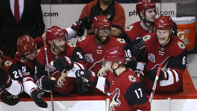 Arizona Coyotes right wing Radim Vrbata (17) celebrates his game winning goal with his teammates during a shoot out in a NHL game against New York Islanders at Gila River Arena in Glendale on January 7, 2017.