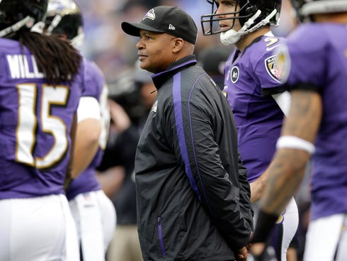 In this Dec. 16, 2012, Baltimore Ravens offensive coordinator Jim Caldwell watches the Ravens warm up before an NFL football game against the Denver Broncos in Baltimore.