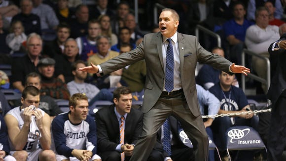 Butler coach Chris Holtmann reacts to a late call during a 66-62 loss to Providence at Hinkle Fieldhouse on January 6, 2015.