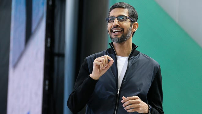 Google CEO Sundar Pichai, seen here delivering the keynote address of the Google I/O 2017 conference, has agreed to testify before Congress.