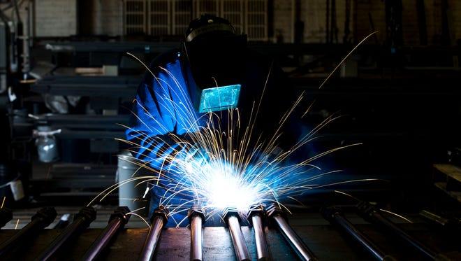 A welder fabricates in Philadelphia.