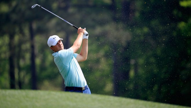 Jordan Spieth watches a shot during a practice round prior to the start of the 2015 Masters Tournament at Augusta National Golf Club on April 7, 2015 in Augusta, Georgia.