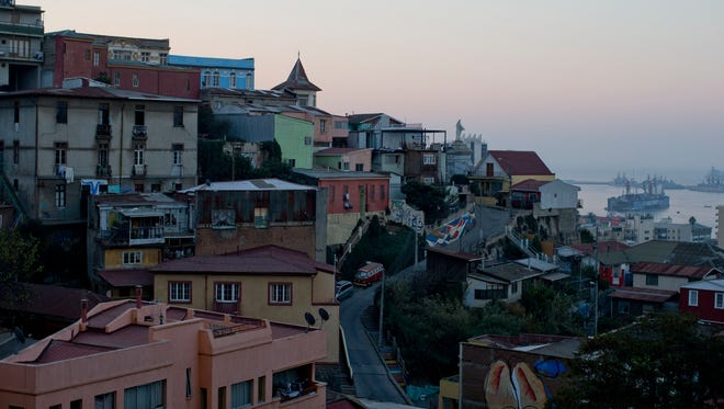 Picturesque homes dot the Chilean port city of Valparaiso.