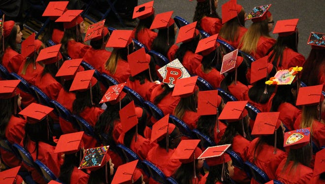 High school graduates at commencement.