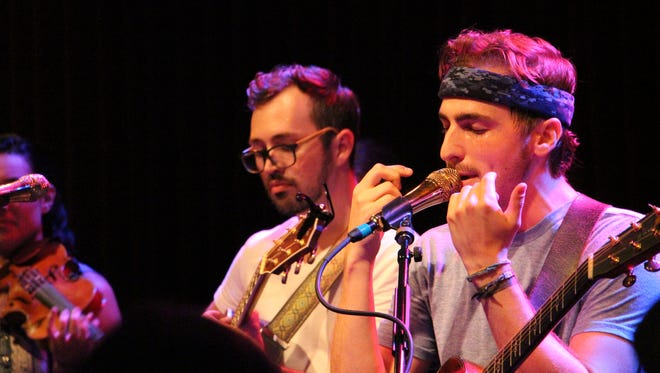 Heffron Drive, featuring Kendall Schmidt and Dustin Belt, perform at World Cafe Live, Philadelphia, Friday, July 3, 2015.
