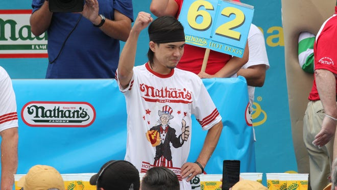 Matt Stonie upset Joey Chestnut to win the Nathan's Famous Hot Dog Eating Contest on July 4, 2015.