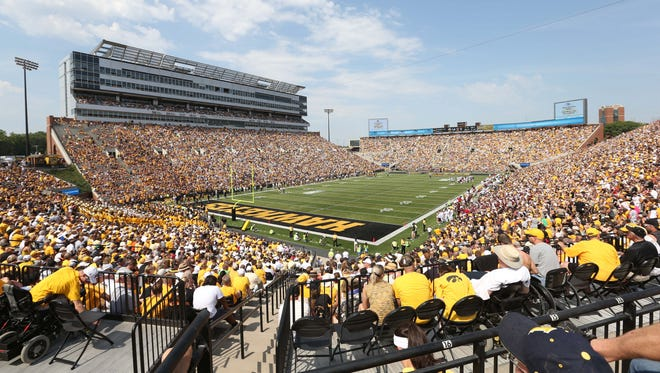 A crowd shot is shown at Kinnick Stadium (capacity 70,585) in 2013. Less than 60,000 are expected for Saturday's game against Illinois State.