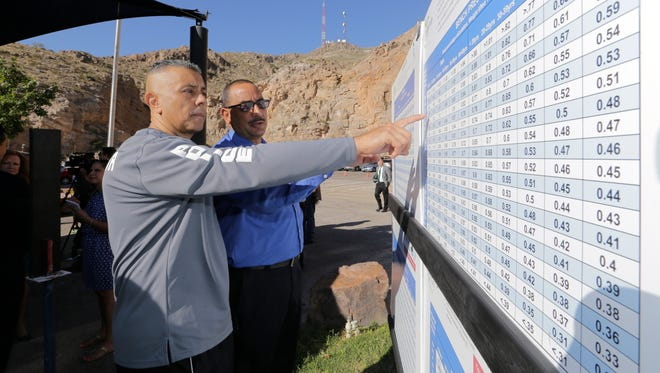 """El Paso Police Department Lt. Steven Lopez, left, reviews charts with Sgt.     Jesus Delgado of the Socorro Independent School District Police Department. The charts will be used to grade in the """"Shape It Up"""" fitness program. City Manager Tommy Gonzalez was on hand to help launch the city's wellness program for city employees and El Paso Police Department officers in an effort to reduce health care costs for city employees."""
