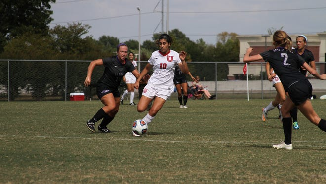 Union senior Honeye Heydari, shown earlier this year, had three goals in Sunday's 4-0 win over Delta State.