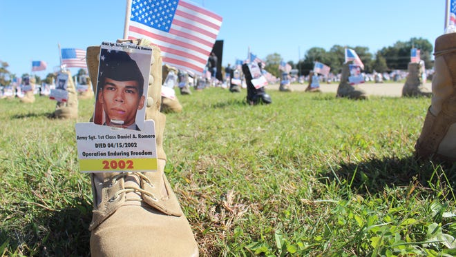 The display of more than 7,000 boots outside Division Headquarters at Fort Campbell honors and remembers the active-duty lives lost since Sept. 11, 2001.