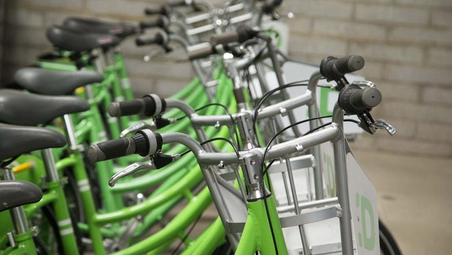 Mesa expects to launch its bike-share program in spring 2016. The GPS-enabled bicycles will look like those already being used in Phoenix (pictured.)