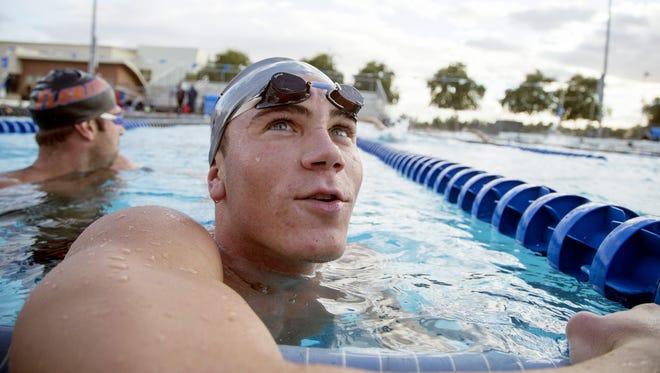 Chandler High School senior Mark Jurek, trains with other swimmers at their school pool on November 16, 2015. Jurek, is a Boy Swimmer of the Year.