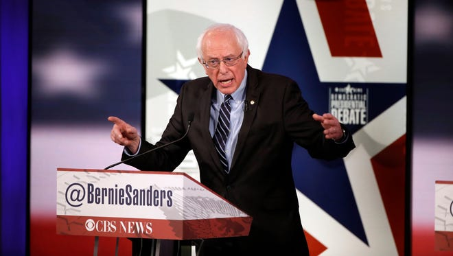 Bernie Sanders makes a point during a Democratic presidential primary debate on Nov. 14, 2015, in Des Moines, Iowa.