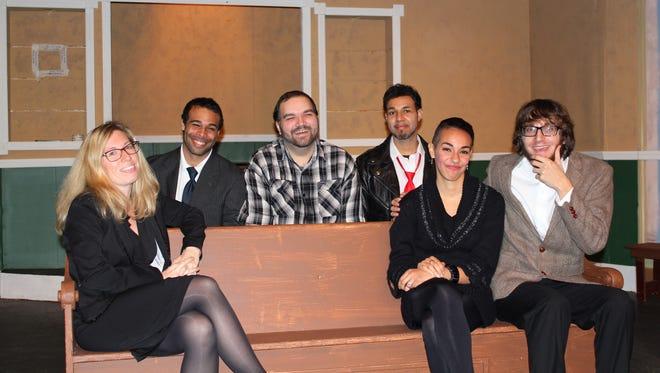 "(From left) Lauren Van Embden, Chris Kitt Anderson, Phil Hopf, Chris Lara, Desiree Lara-Balicki and Brad Marcus rehearse for the premiere of ""Mourning Has Broken"" at the Little Theatre in Vineland."