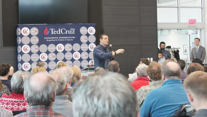 Presidential candidate Ted Cruz, a Texas Republican and U.S. senator, spoke during a town hall event in Coralville, Iowa, on Nov. 30, 2015.