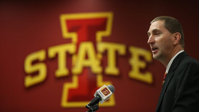 Iowa State University athletic director Jamie Pollard introduces new head football coach Matt Campbell during a news conference on Monday, Nov. 30, on the Iowa State campus.