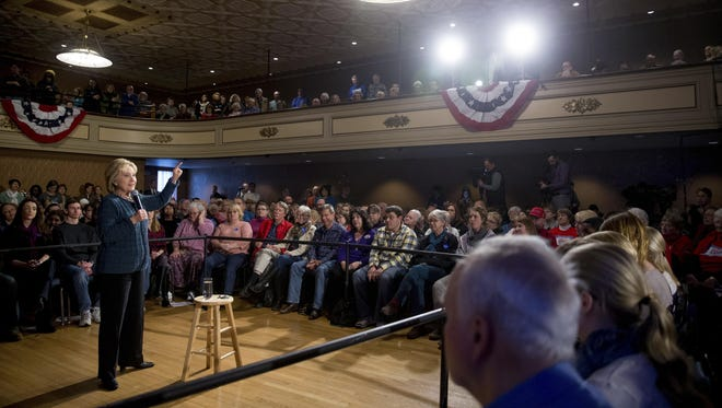 Democratic presidential candidate Hillary Clinton speaks at a rally at the Steyer Opera House at Hotel Winneshiek in Decorah, Iowa, Tuesday, Jan. 26, 2016. (AP Photo/Andrew Harnik)