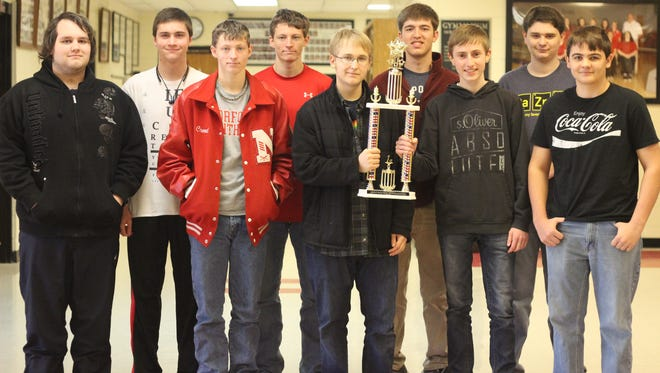 The Norfork Senior High Quiz Bowl team went to the NCAEC Tournament  in Melbourne on Wednesday, Feb. 3 and came away with first place in the tournament by defeating Cave City, Timbo, Cedar Ridge, and Mountain Home. The team returns to action on Feb. 13 in Fort Smith. Team members are, from left, Evan Thompson, Elias Maple, Creed Chapman, Wyatt Chapman, Jacob Moore, Kyle Manes, Elias Crist, Alex Ruegsegger and Ian Ruegsegger.  Not present were Zachary Helm and Mason Rosson.