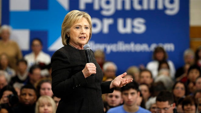 Hillary Clinton campaigns on Feb. 3, 2016, in Manchester, N.H.