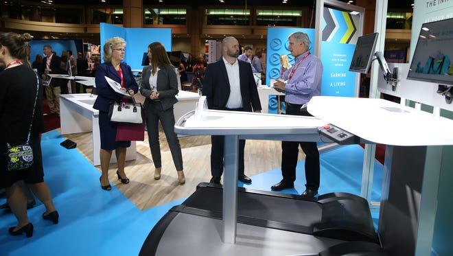 Chicago-based InMovement is preparing to launch the BiStride, a pair of treadmill desks turned toward each other to facilitate walking meetings.