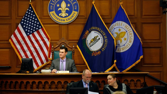 President David Yates presides over the Louisville Metro Council meeting Thursday night. Feb. 11, 2016