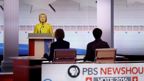 Hillary Clinton speaks during the Democratic primary