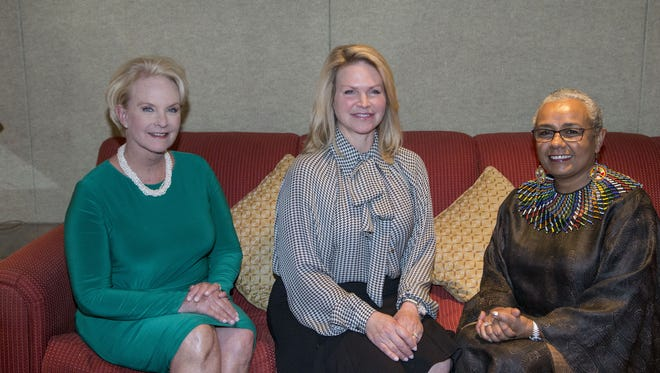 "Cindy McCain, on left, and First Lady Angela Ducey joined First Lady of Kenya Margaret Kenyatta, on right is at JW Marriott Scottsdale Camelback Inn to raise funds for her campaign ""beyond zero"" to reduce maternal and fetal morbidity rates in Kenya."